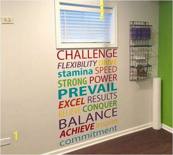 Gym Accent Wall Word Decals Gym Wall Decal Gym Motivation
