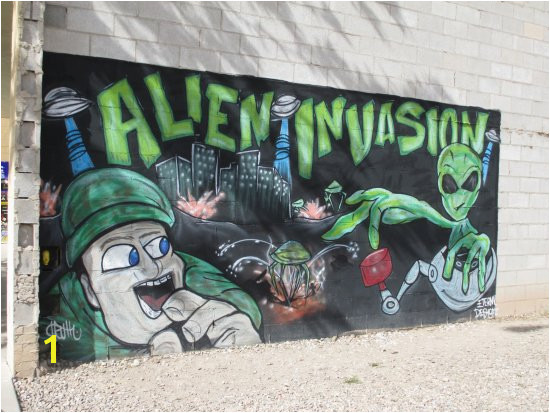 Downtown Historic District Look for the many alien themed murals