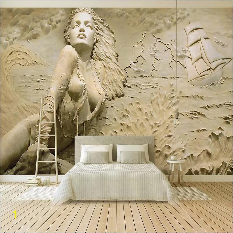 Custom Wall Mural Art Wall Painting European Style Golden 3D Stereoscopic Relief Sea Wave Sailboat Beauty Wallpaper Murals Free Desktop Wallpapers