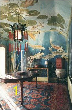 Koi fish and lilly pads make for a delightful underwater view Hand painted mural