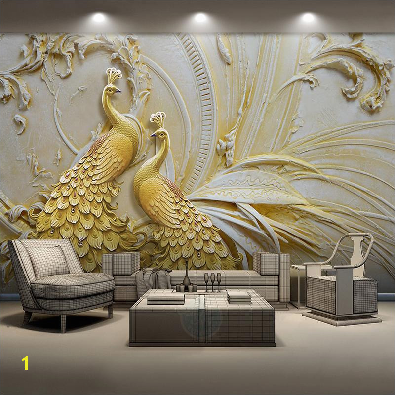 Custom Mural Wallpaper For Walls 3D Stereoscopic Embossed Golden Peacock Background Wall Painting Living Room Bedroom Home Decor Cell Wallpapers Cellphone
