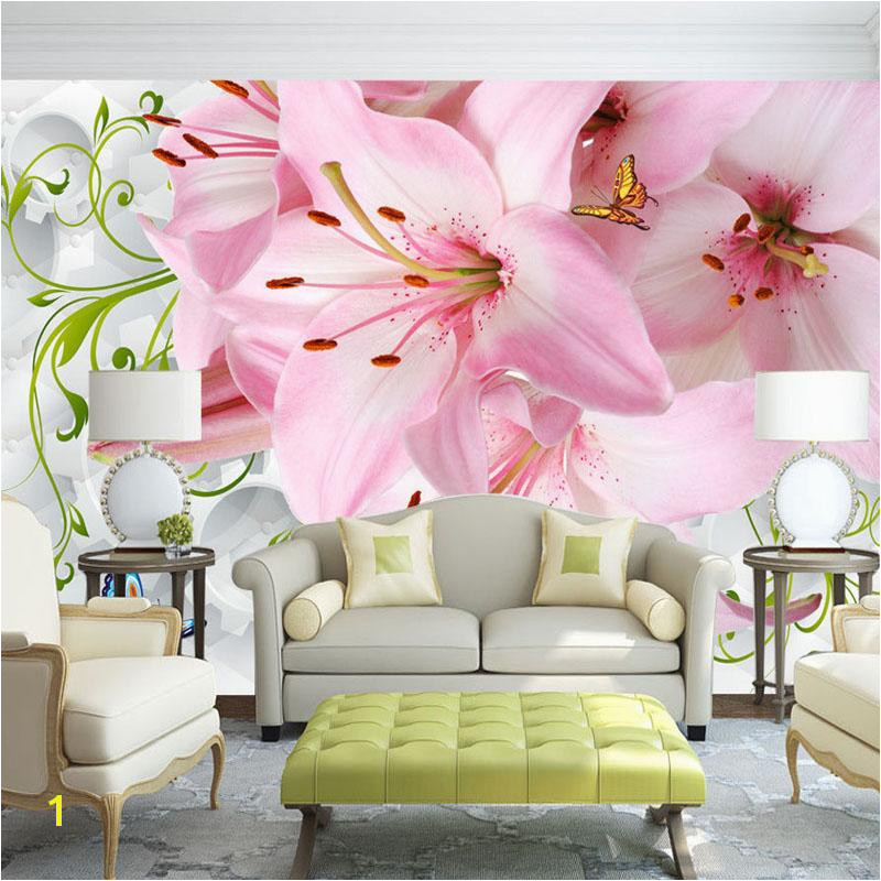 Custom Mural Wallpaper Modern 3D Non woven Soft Case Lily Flower Butterfly LivingRoom Bedroom Sofa TV Background Wallpaper line with $43 43 Piece on