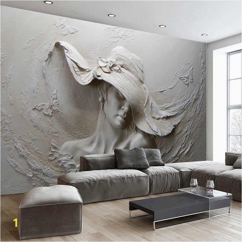 Custom Wall Cloth 3D Embossed Abstract Beauty Figure Wall Paper Mural Living Room Bedroom Wall Home