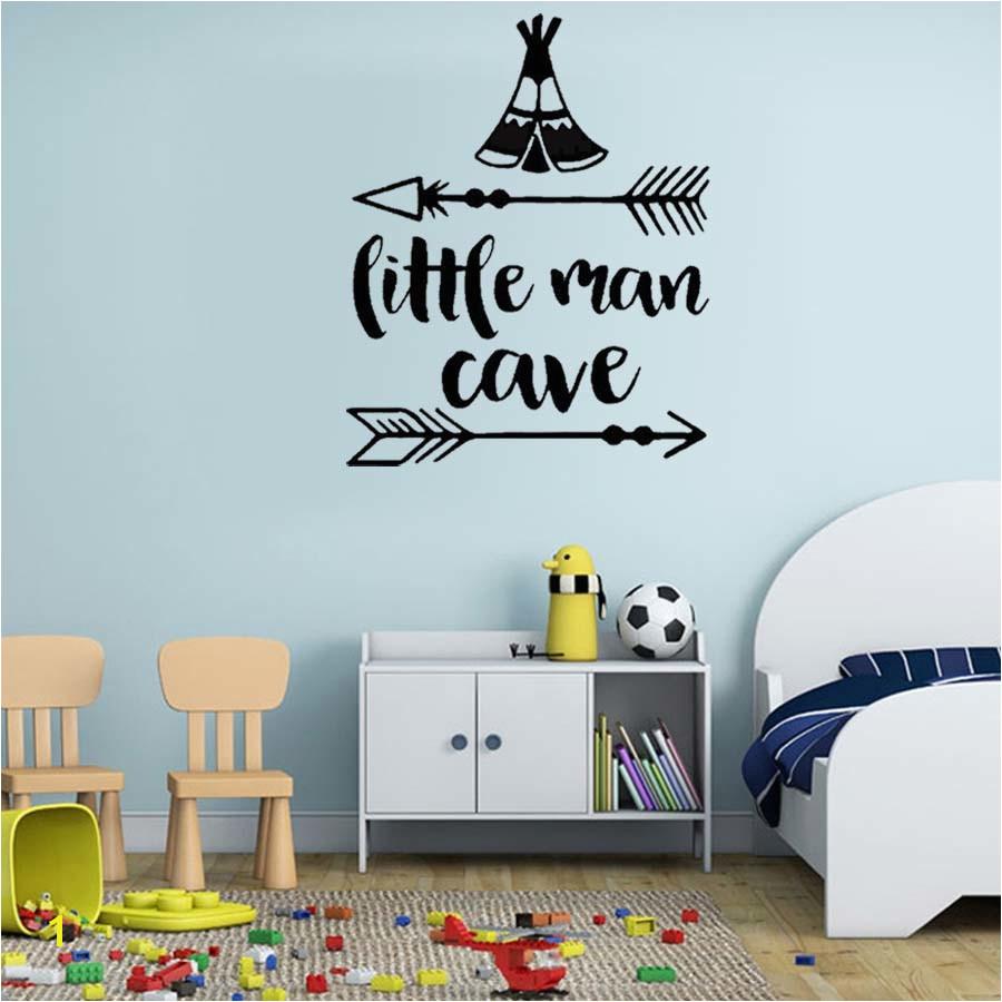 Little Man Cave Arrow Decal Vinyl Wall Sticker For Kids Nursery Room Modern Wall Art Home Decor For Bedroom Waterproof Wallpaper