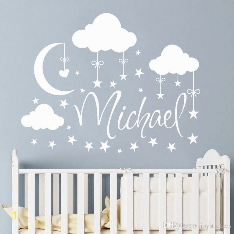 Man On the Moon Wall Mural Personalized Name Wall Decal Clouds Moon Stars Wall Sticker Babys
