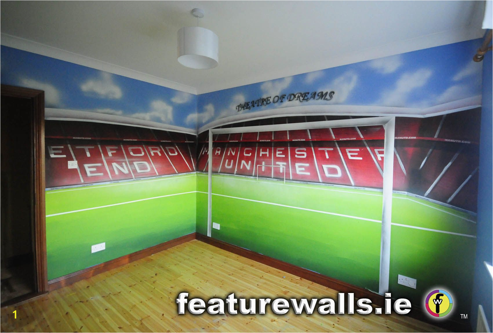 Manchester United Wall Mural Hand Painted Manchester United Old Trafford Kids Room Mural by