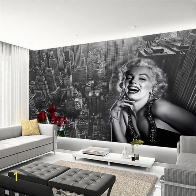 Modern Simple Black And White Building Marilyn Monroe Wallpaper Living Room Restaurant Shopping Mall Decor Mural 3D Fresco