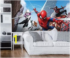 Giant size wallpaper mural for boy s bedroom Spider man Marvel wall decoration ideas
