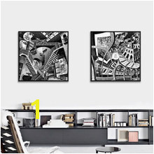 Maurits Cornelis Escher Master of illusion Build Abnormality Canvas Art Print Painting Poster Wall Picture