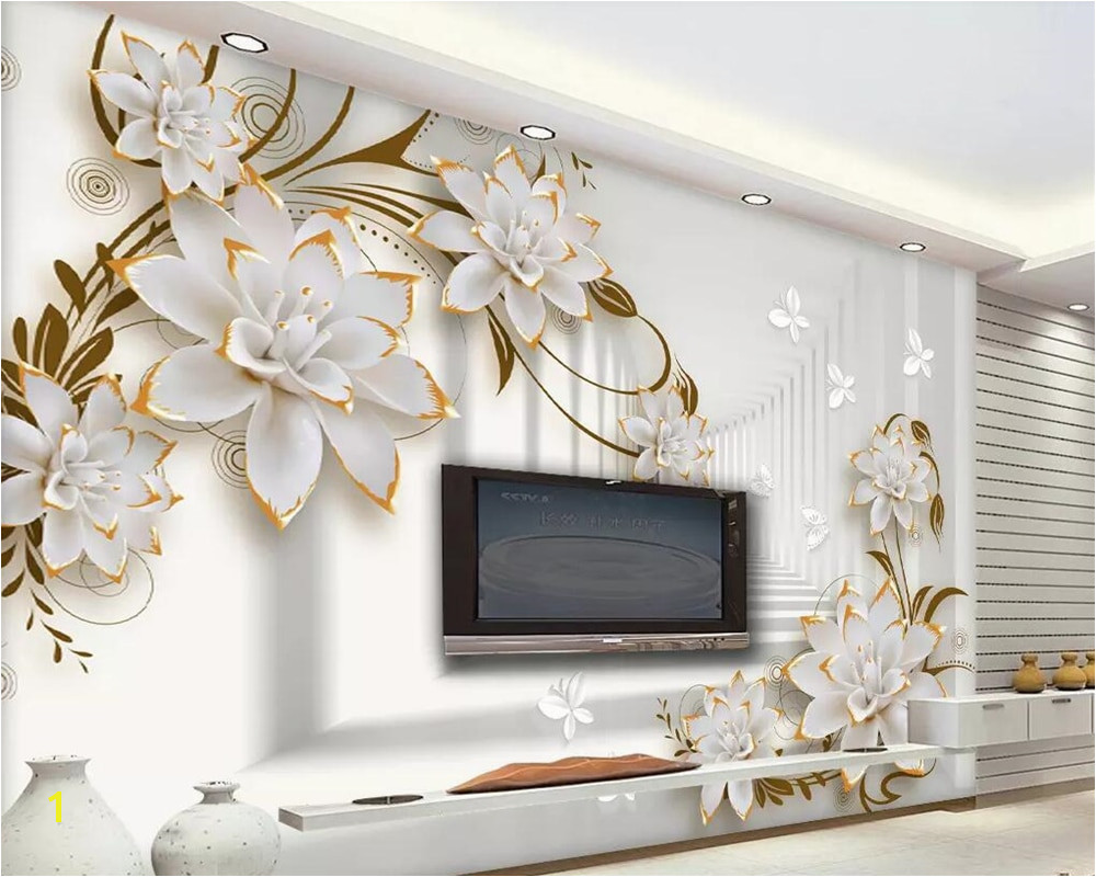 Aliexpress Buy Beibehang wallpaper murals simple 3D space embossed flowers TV background wall home decoration living room bedroom 3d wallpaper from