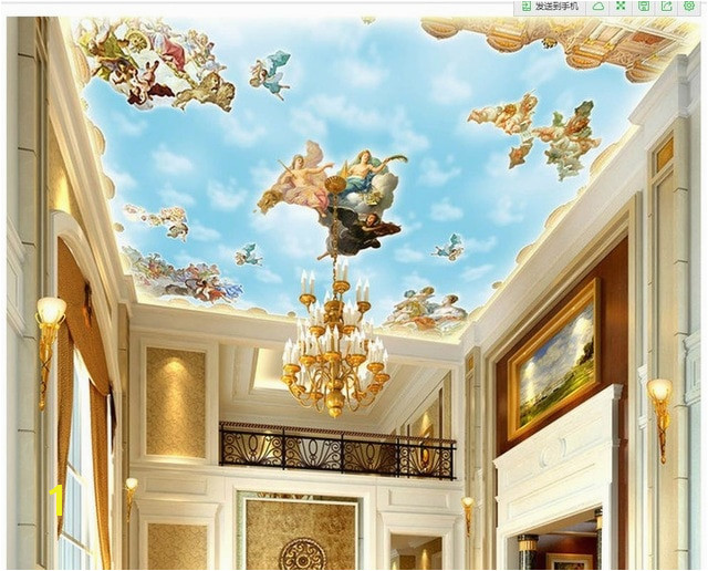 European style me val ceiling wall decoration painting Home Decoration 3d ceiling murals wallpaper