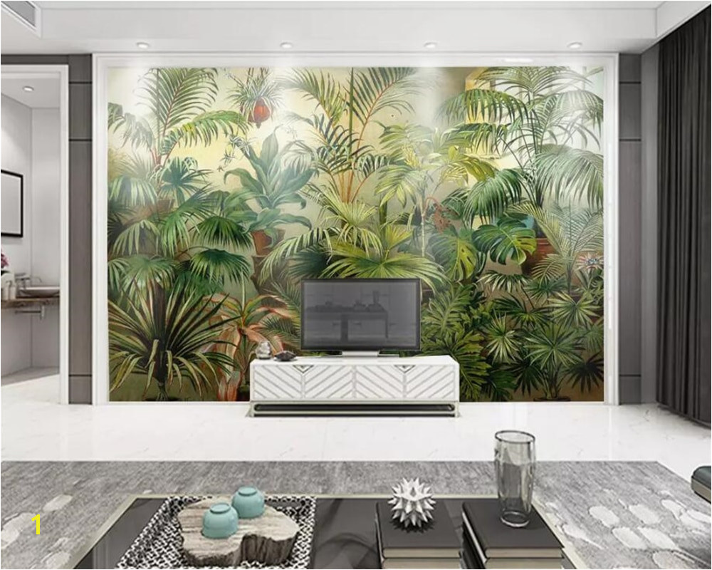 beibehang Custom wallpaper mural Rainforest Vintage European Hand Painted Me val Plantain Background wall 3d wallpaper tapety