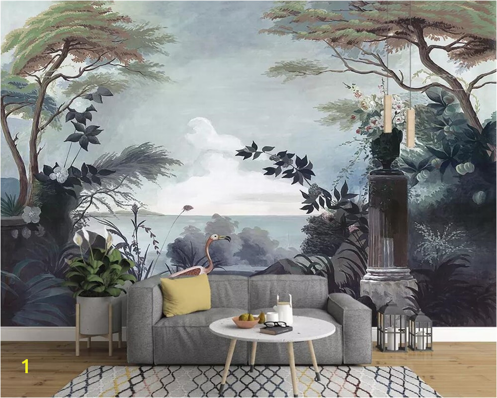 Beibehang European style hand painted wallpaper me val rainforest mural TV background wall home decoration 3d wallpaper photos in Wallpapers from Home