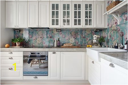 Lovely Floral kitchen backsplash via smallspaces about d35f9b58eba49dc390