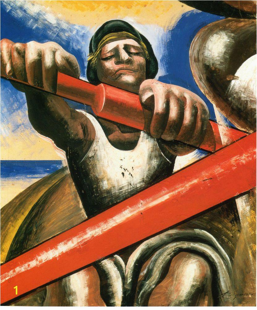 "1936 Painting DAVID ALFARO SIQUEIROS Rowing El Botero Mexican Muralist 14""x11"""
