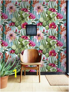 Exotic Cactus Flowers Removable Wallpaper very colorful home decor idea Peel&stick wall