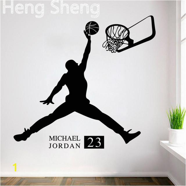 Sports Poster Basketball Wall Stickers NO 23 Michael Jordan Slam Dunk Wallpaper For Kids Room