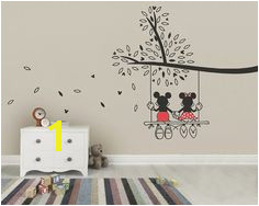 Mickey Mouse & Minnie Tree Swing Wall Sticker Wall Art Decal made from Vinyl Childrens Bedroom Nursery Art