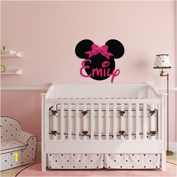 Minnie Mouse Wall Decals Girl Name Wall Decal Custom Name Wall Decals Nursery Girls Bedroom Deco