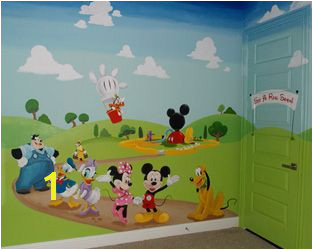 Mickey Mouse Clubhouse Wall Mural Mickey Mouse Clubhouse Kids Play Room Mural Hand Painted