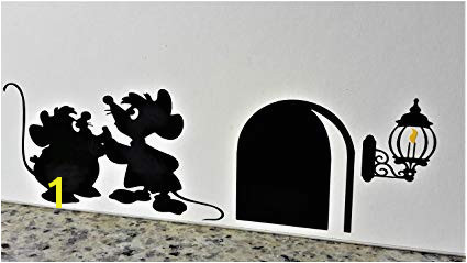 "Cartoon Decal Mouse Hole Wall Sticker "" Gus and Jaq the Cinderella Mice with Yellow"