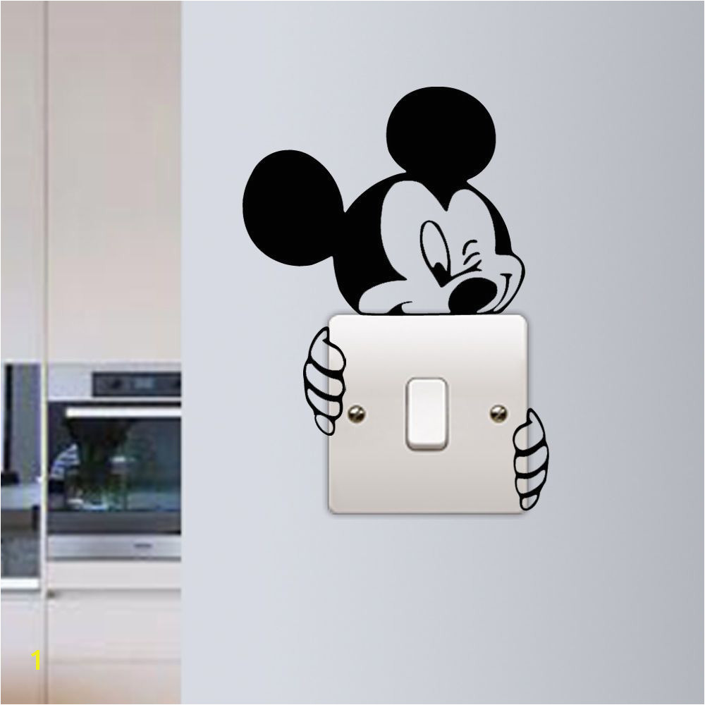 Mickey Mouse Wall Sticker Switch Vinyl Decal Funny Lightswitch Kids Room DIY in Home Furniture & DIY Home Decor Wall Decals & Stickers