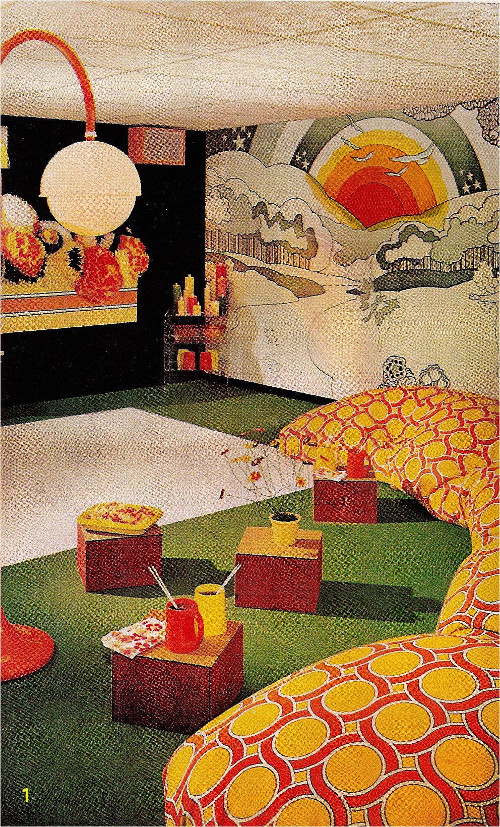 Mid Century Wall Mural Groovy Rumpus Room Mid Century Marvelous Pinterest