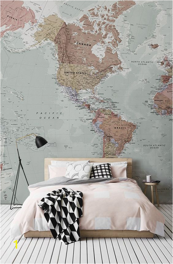 Middle Earth Map Wall Mural Classic World Map Wallpaper Stylish Map Mural