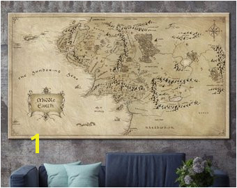 Lord The Rings Detailed Map Lord The Rings Middle Earth Map Canvas Poster Print on Canvas Map Middle Earth Detailed Map Art