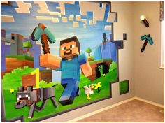 14ft x 8ft Custom Minecraft Mural Minecraft Bedroom Decor Minecraft Furniture Minecraft Room