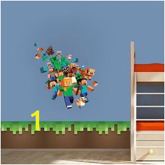 Minecraft Character 3D Wall Decal Mural Minecraft Bedroom Decal Video Game Wall Decal Murals
