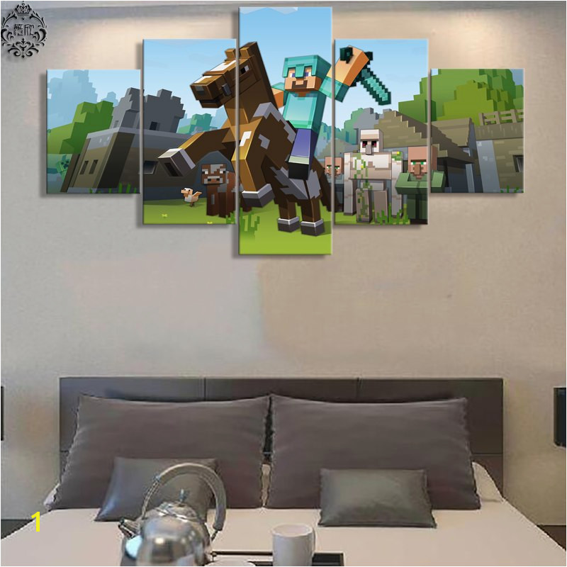 5 Pieces Canvas Painting Game Poster Minecraft Wall Art Home Decoration Canvas Printed Wall Decor Painting Artwork in Painting & Calligraphy from