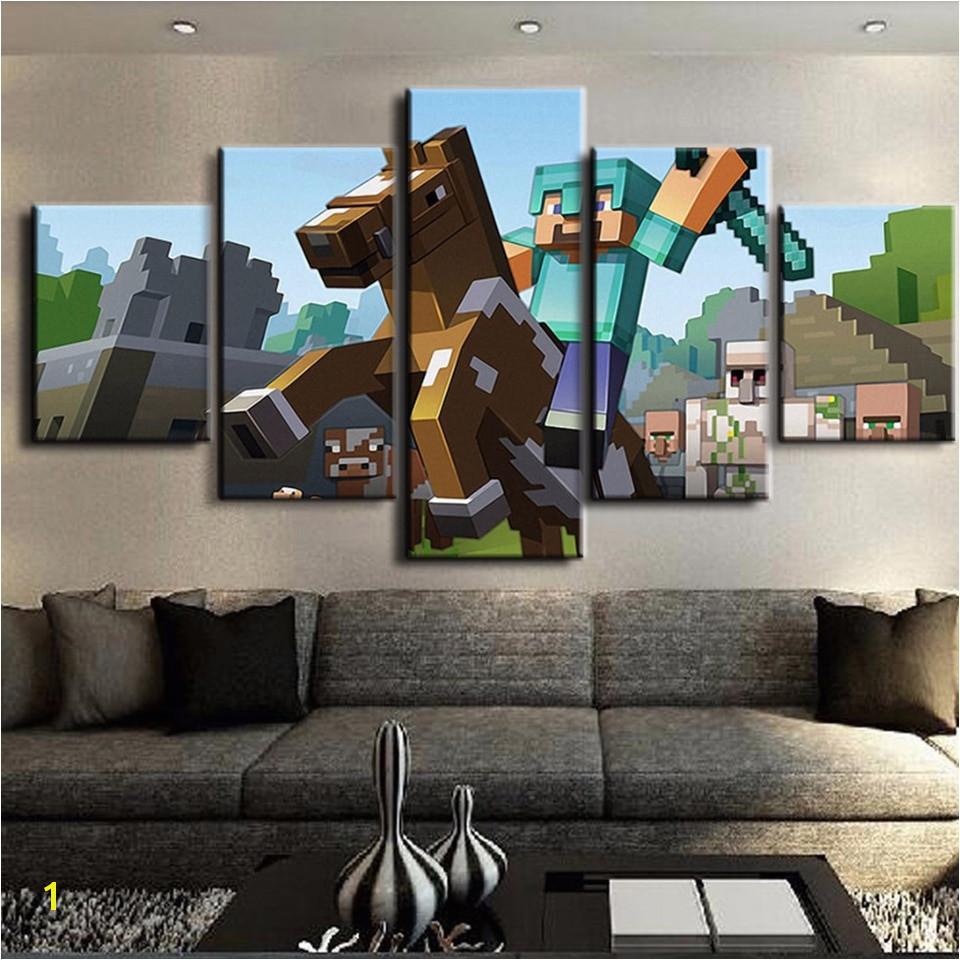 Print Painting Modular Vintage Art 5 Pieces pcs Game Poster Minecraft Home Decor HD Canvas
