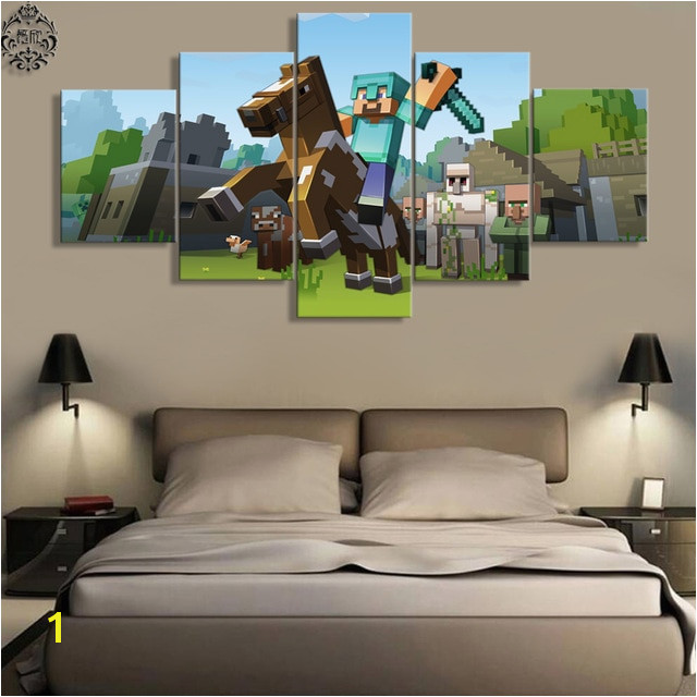 5 Pieces Canvas Painting Game Poster Minecraft Wall Art Home Decoration Canvas Printed Wall Decor Painting Artwork