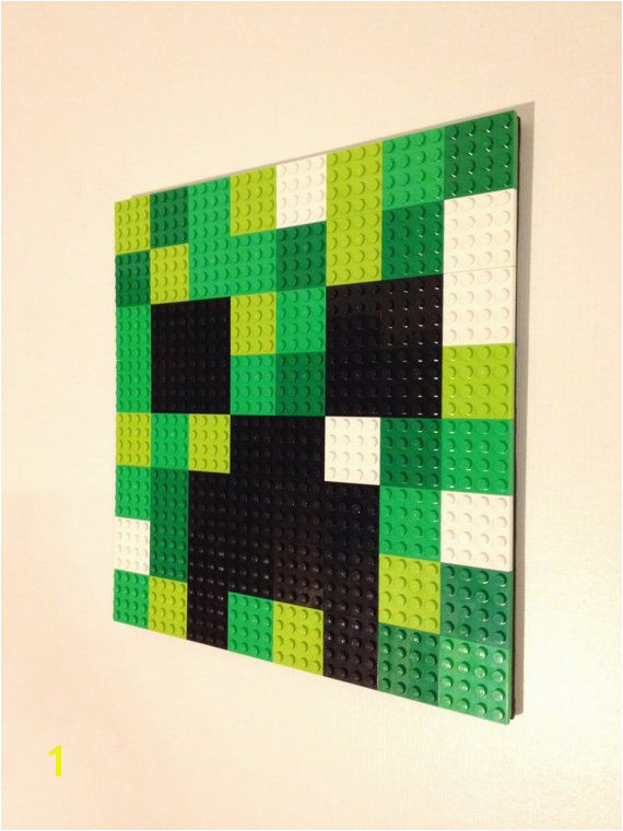 Minecraft Inspired LEGO Wall Art Creeper Hanging Picture Pixel 8 Bit Mosaic Bedroom Game Room Decor Decoration Painting