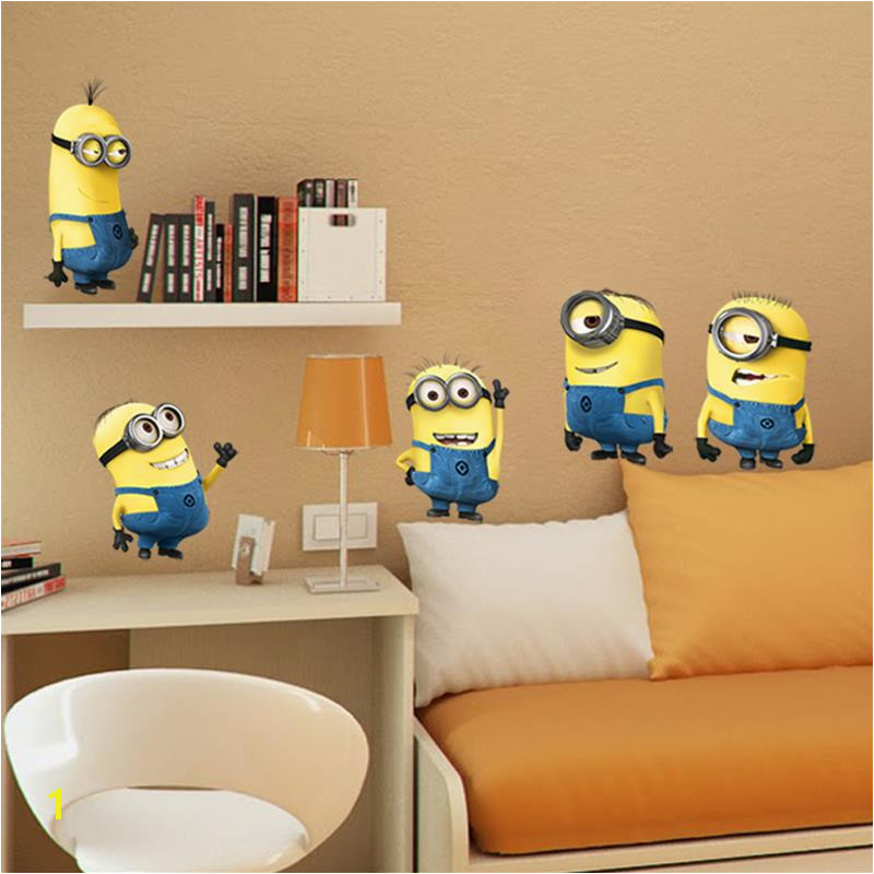 minions movie wall stickers kids room home decorations diy pvc cartoon decals children t 3d