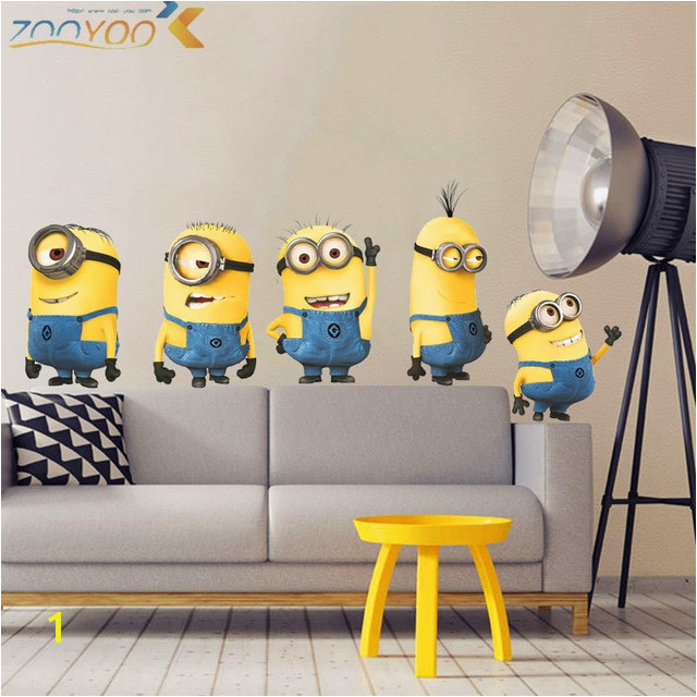 cute yellow man movie wall stickers for kids rooms home decor 3d cartoon wall decals art