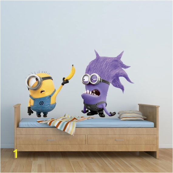 Full Colour Despicable Me Minion Wall Sticker Disney Boys Girls Bedroom Decal mural 6 Wall Art Stickers