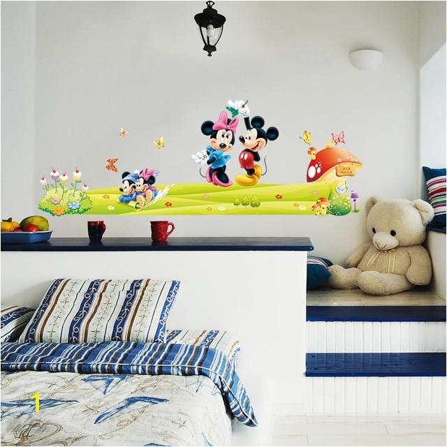 Mickey Minnie Mouse Karton Kreş ‡ocuk Odası ‡Ä±kartması Duvar Sanatı Sticker Bebek Odası Dekoratif Dekor Mural