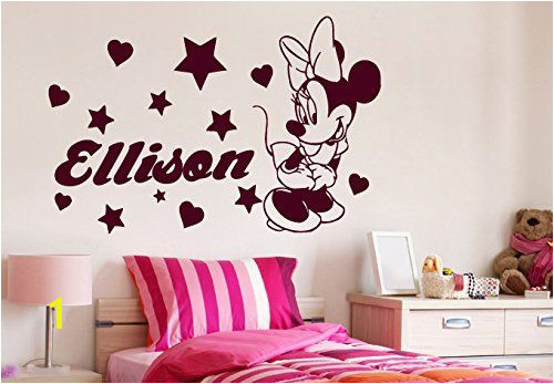 Minnie Mouse Wall Decals Girl Personalized Name Decal Vinyl Star Heart Baby Room Kids Nursery Stickers