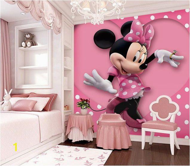 Pink Minnie Mouse Heart Dot Wallpaper Wall Decals Wall Art Print Mural Home & Garden Building Materials & DIY Wallpaper & Accessories
