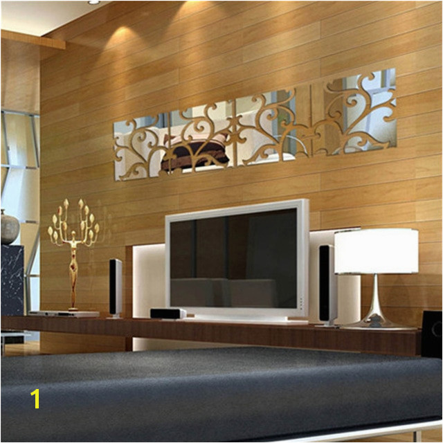 20 80cm 3D Acrylic Mirror Decal Mural Wall Sticker home living room glass wall sticking design panels vine style on sale