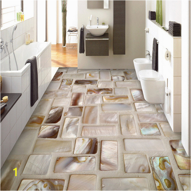 Custom Wallpaper 3D Tiles Mosaic Floor Art Mural PVC Waterproof Self Adhesive Bathroom Restaurant