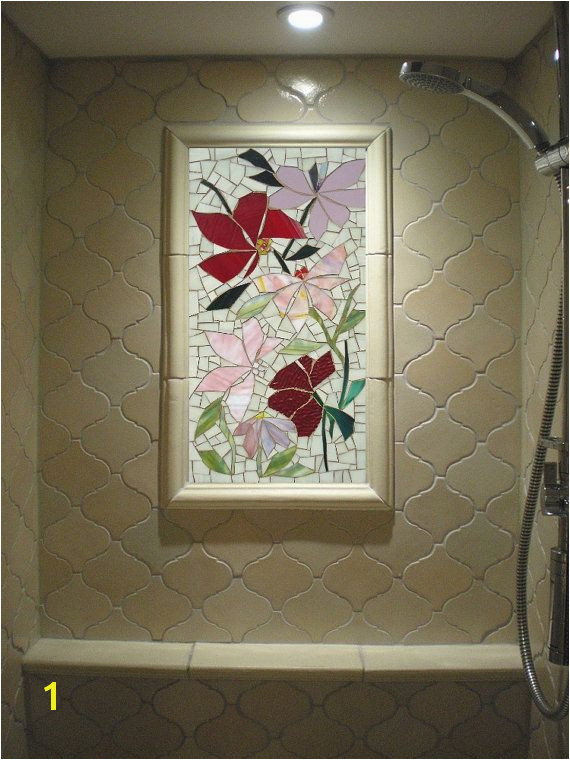 SALE 2ft MOSAIC mural FLORAL stained glass by ParadiseMosaics