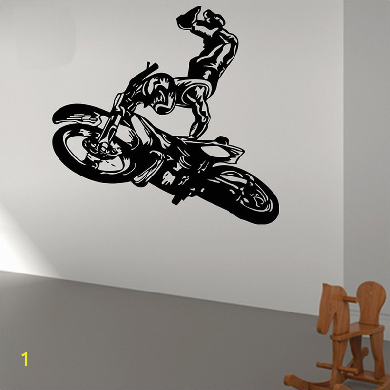 POOMOO Wall Decals Hot Cartoon Wall Decal Sticker Vinyl Motocross Tribal Dirt Moto Motorcycle Jump Bike Size 56x90cm