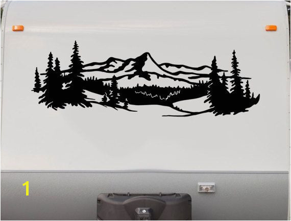 Lake Trees Mountains RV Camper Vinyl Decal Sticker Graphic Custom Text Mural Motorhome Replacement Decals RV Stripe Kit