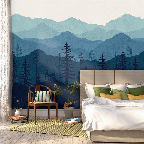 Blue Ombré Mountain Mural Wallpaper Mountain Removable Wallpaper Mural Wallpaper Blue Wallpaper