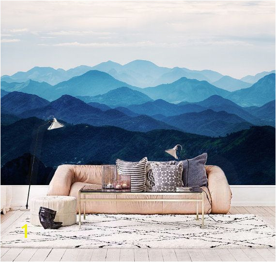 awesome Custom Listing for Elizabeth Misty Mountain Wallpaper Foggy Mountain Silhouette Wall Mural Romantic Smoky Blue