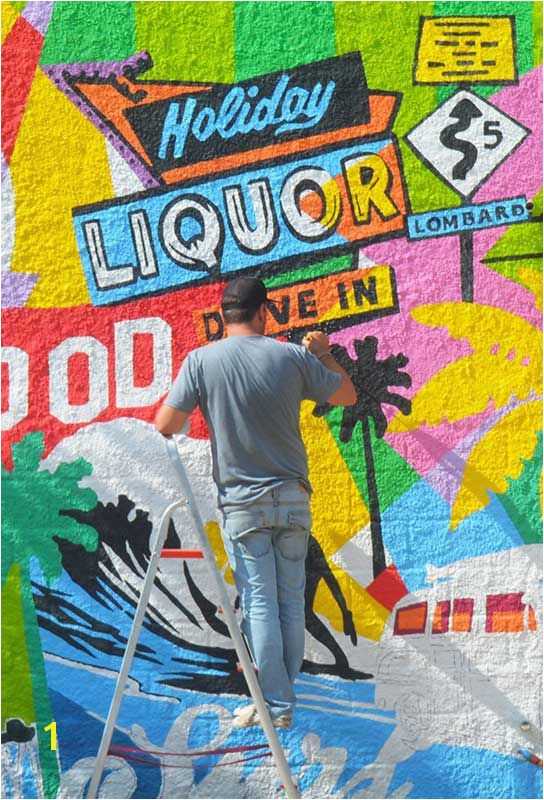 Street Mural His pop art exhibits Los Angeles metropolis the artisan beverage store Californian s