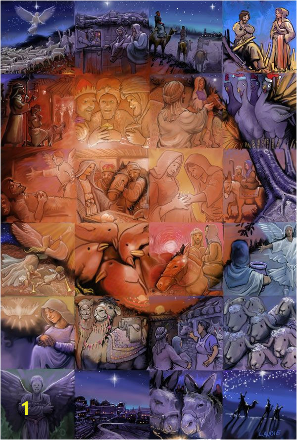 Mural Mosaic Puzzles the Nativity 24 Beautifully Illustrated Paintings by Lewis Lavoie